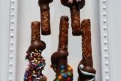Chocolate and Caramel Covered Pretzel Rods