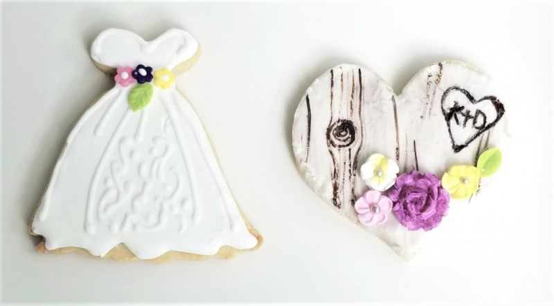 bridal-gown-and-birch-tree-heart-cookies