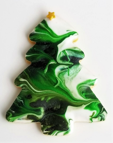 Marbled Christmas Tree Cookie