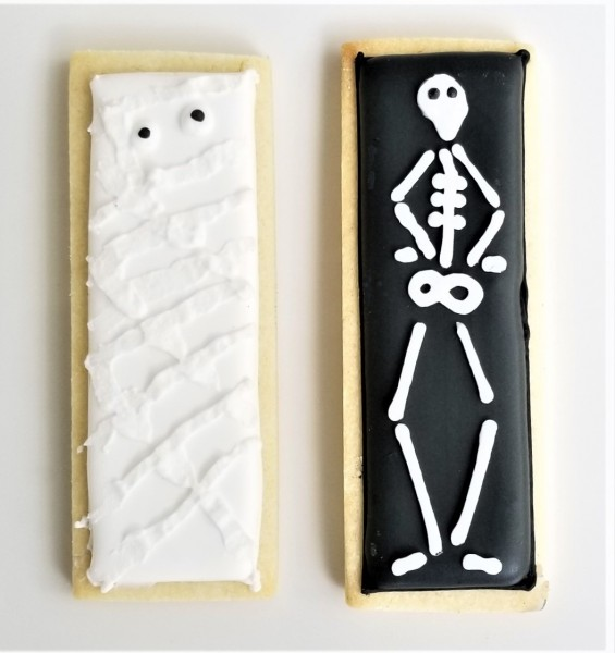 Skeleton and Mummy Stick Cookies