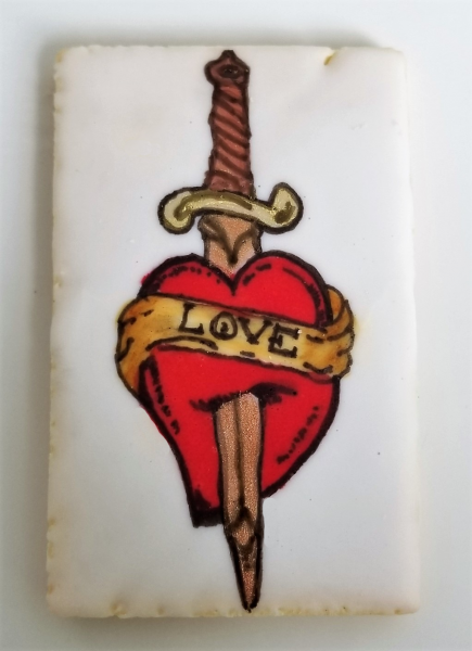 Sword and Heart Tattoo Cookie