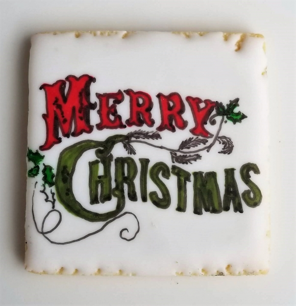 Vintage Merry Christmas Cookie