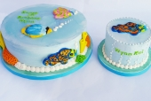 Tropical fish birthday cake with matching smash
