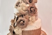 Burlap Rustic Wedding Cake