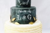 Chalkboard and ruffle wedding cake