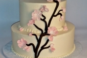 Cherry blossom branch wedding cake