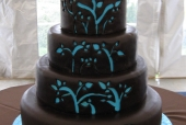 Chocolate and blue wedding cake