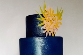 Lapis blue and metallic wedding cake
