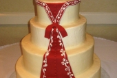 Red train wedding dress cake